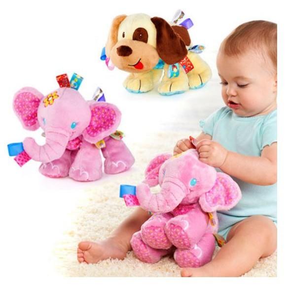 寶寶標籤粉紅象小狗狗緞帶安撫玩具