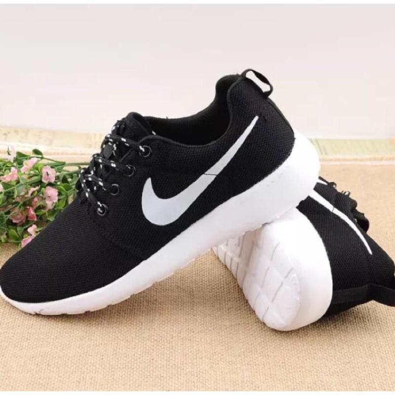 NIKE Roshe run 輕量 慢跑鞋 編織黑白權志龍男女情侶鞋透氣網面鞋跑步鞋