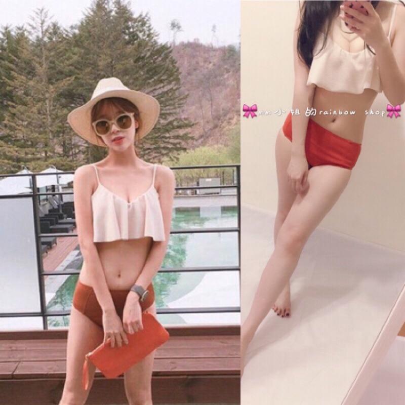 ⚡️ ⚡️韓國比基尼氣質女神色系胸前波浪小胸 保守泳衣甜美小可愛 感兩截泳衣實品拍攝bik