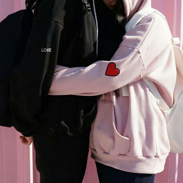 ( )秋 加厚加絨寬鬆套頭刺繡愛心學生情侶裝大學t 連帽t 韓國學院風連帽衛衣女