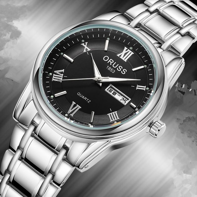 唯品悅聚瑞士正品全自動機械手表男士表鏤空雙日歷防水鋼帶表 鋼帶男表