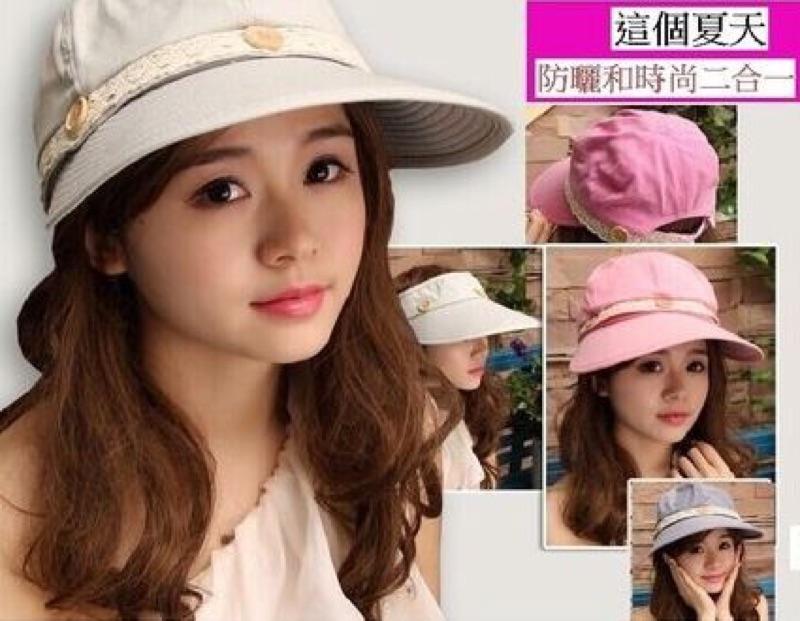瀅瀅小舖可拆鈕扣蕾絲防曬帽女士帽騎車帽遮陽帽女帽夏天 涼帽防紫外線太陽帽