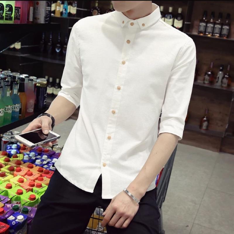 短袖襯衫男學生七分袖亞麻襯衫潮 修身中袖棉麻白襯