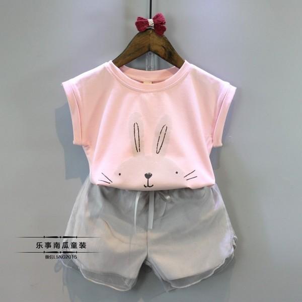 可愛兔子短袖t 恤短褲 套裝