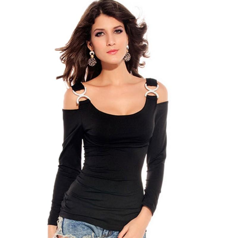 露肩長袖修身 女裝黑色