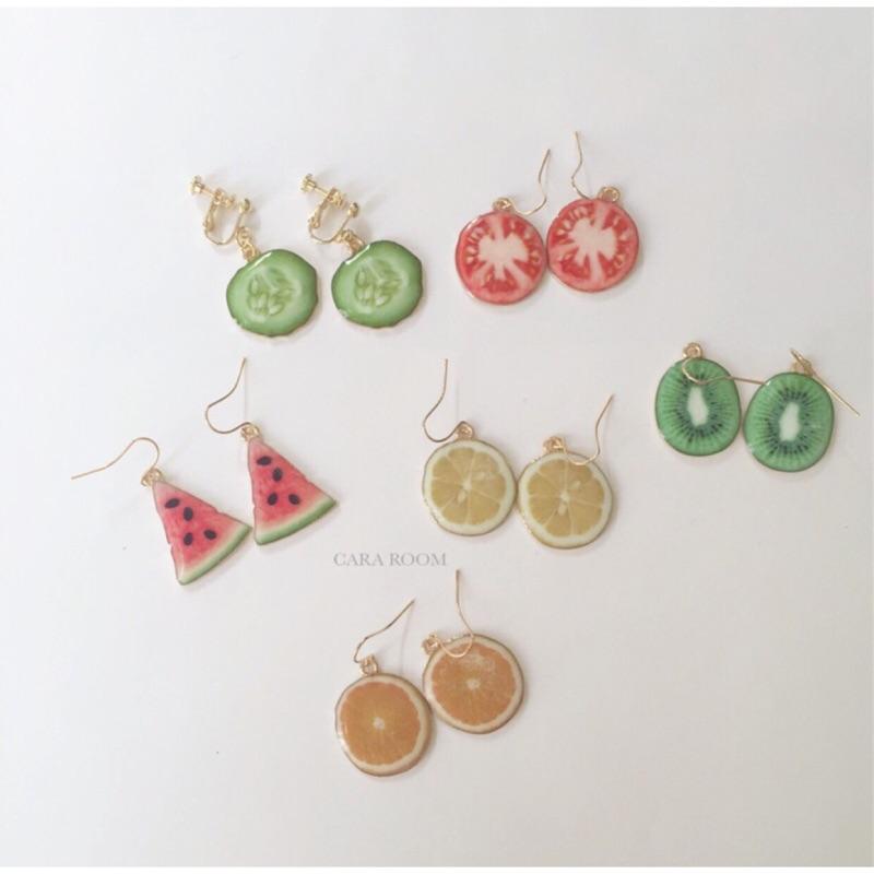 水果片西瓜檸檬柳橙奇異果小黃瓜蕃茄鋼針耳環耳夾一對