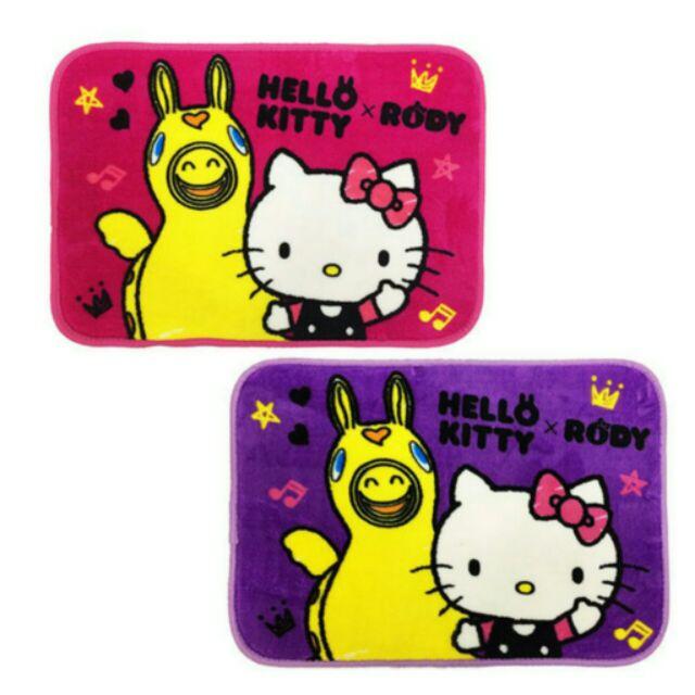 Hello Kitty 跳跳馬腳踏墊紫,防滑地墊止滑地毯Rody 卡通地墊臥室防滑腳墊可愛