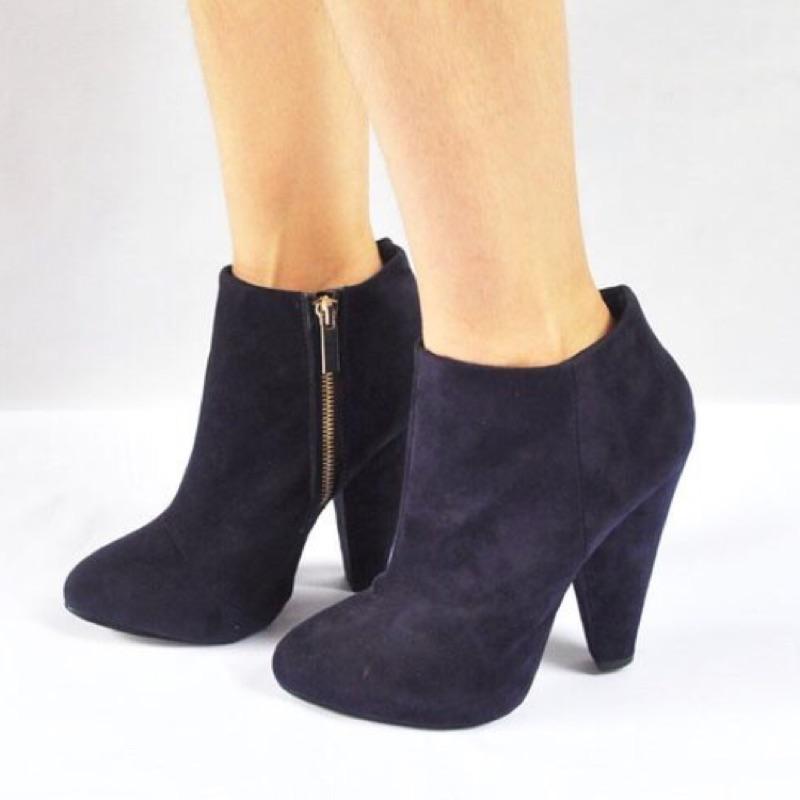 大 40 號25 號 風藍紫色街拍款性感拉鏈錐形跟尖頭高跟短靴踝靴磨砂絨面forever2