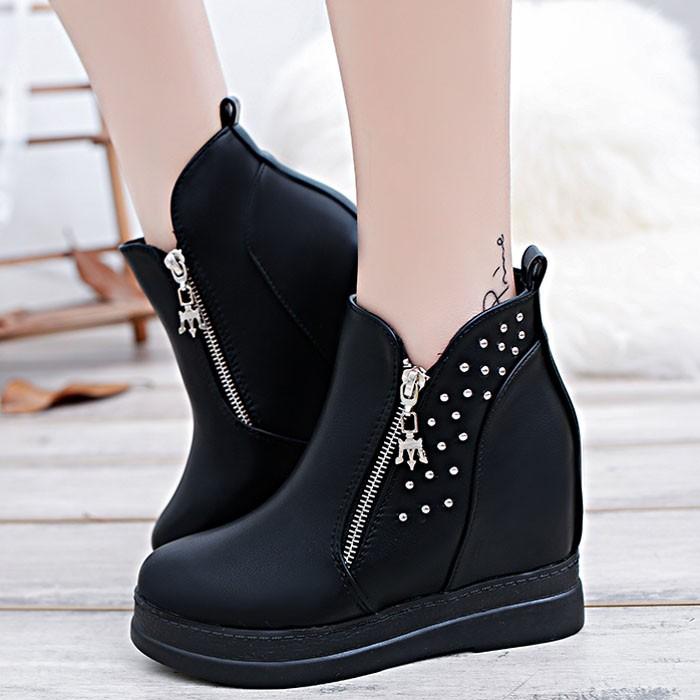 ♛♛♛♛♛♛n  裸靴側拉鏈低跟短靴內增高女靴粗跟短筒靴馬丁靴女鞋