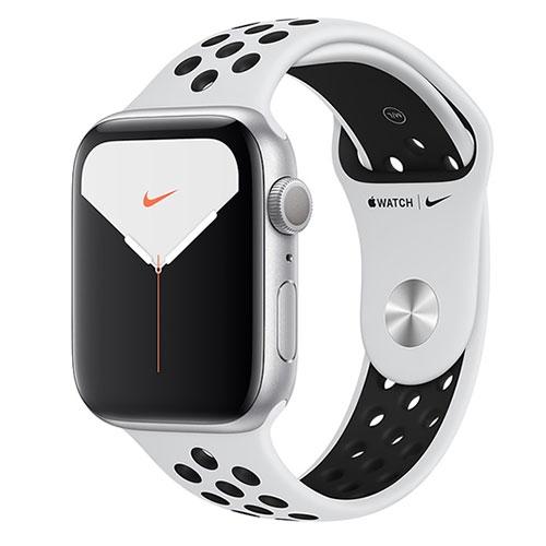 Apple Watch Series 5銀色鋁金屬錶殼+白Nike運動型錶帶-GPS版(44m)【愛買】