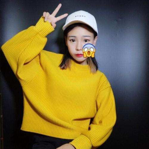 價▲CC 长袖上衣▲2017 實拍純色蝙蝠袖夾絲棉紋理寬松圓領套頭同款衛衣 潮流 學生韓國