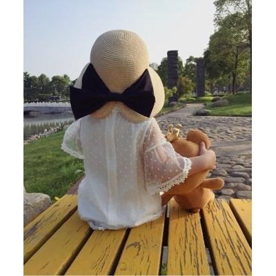 ~missy shop ~ . 訂製 親子帽夏出遊 女童大蝴蝶草帽遮陽帽漁夫帽可折疊米韓