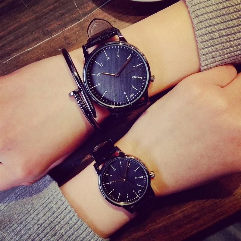 男女學生錶皮帶超薄復古原宿風休閒石英錶防水情侶錶一對手錶~SKY 型男館~