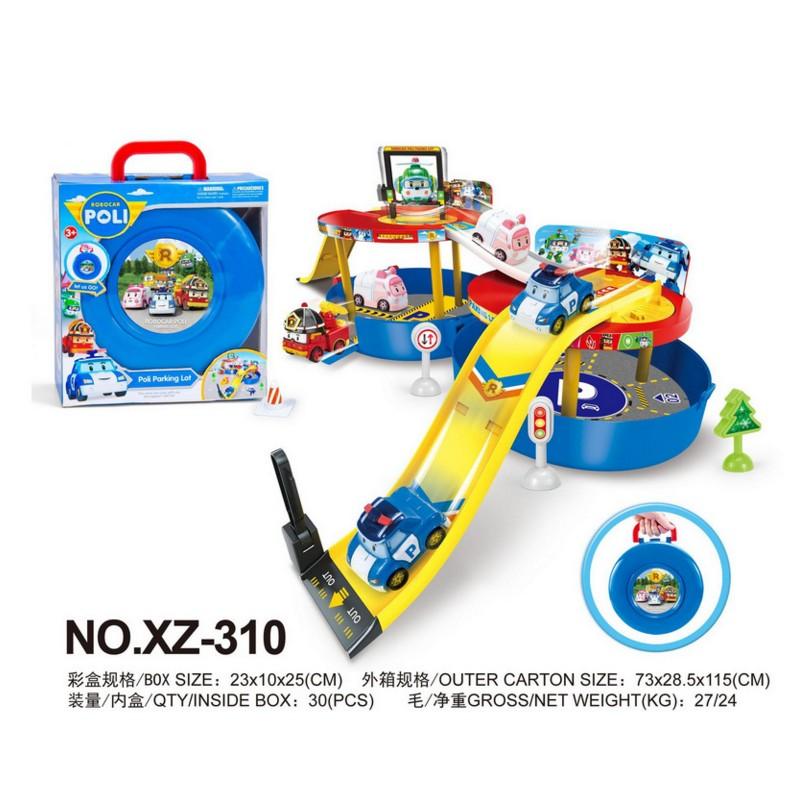 阿痞3C 韓國ROBOCAR POLI 主題滑行停車場帶收納盒遙控車模型波力變形機器人玩具
