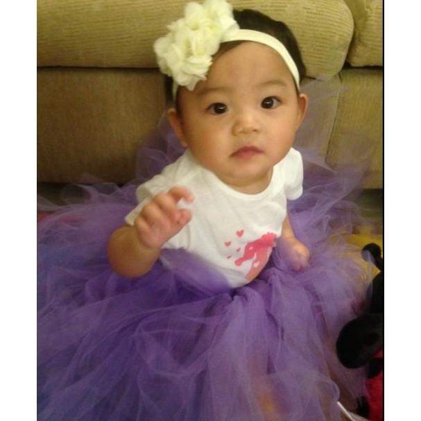 小雪紡花嬰兒髮帶女童水鑽頭花髮帶花童頭飾拍照飾品週歲婚紗 款杏色