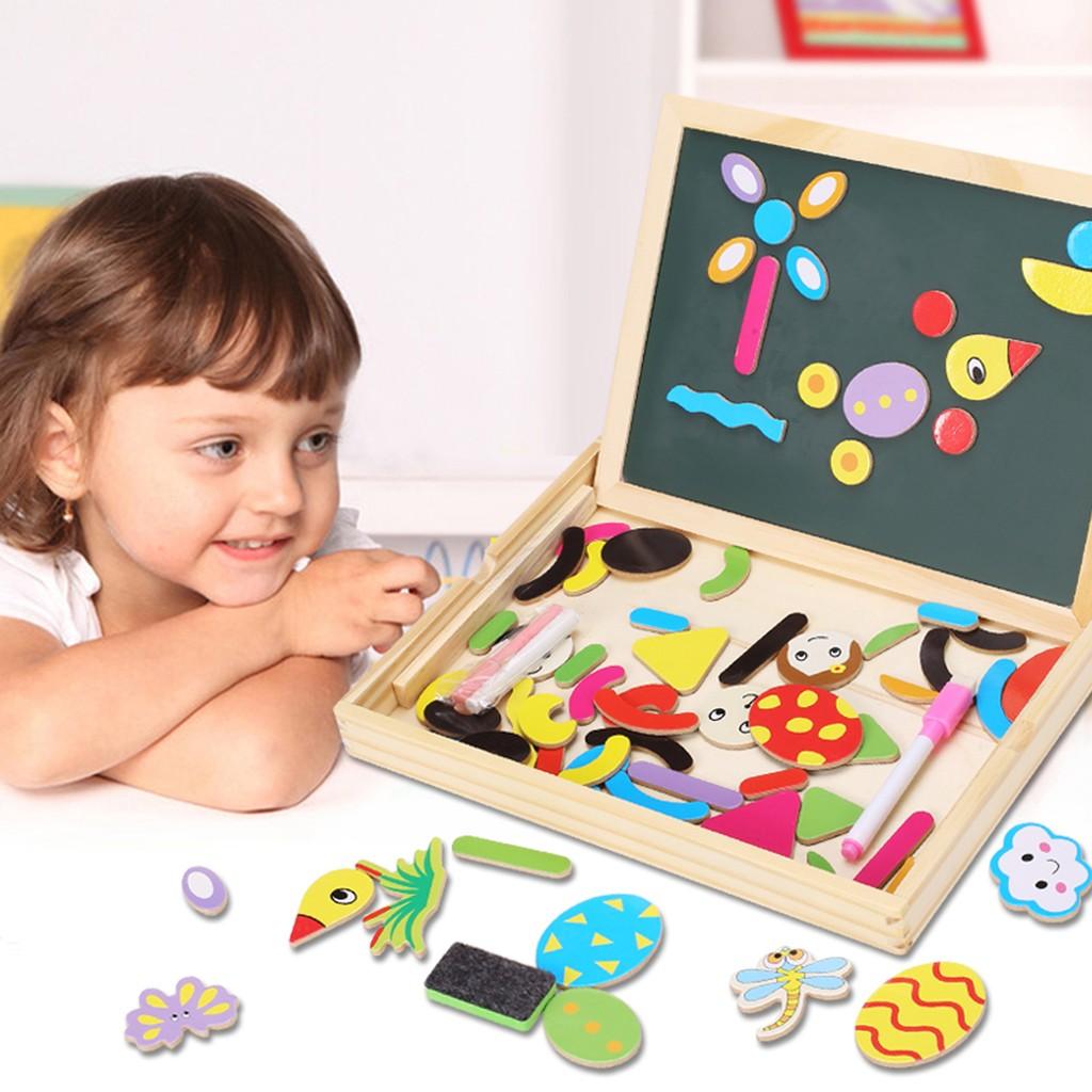 木製學習畫板兒童拼圖畫板雙面磁性雙面超大畫板黑板兒童學習玩具
