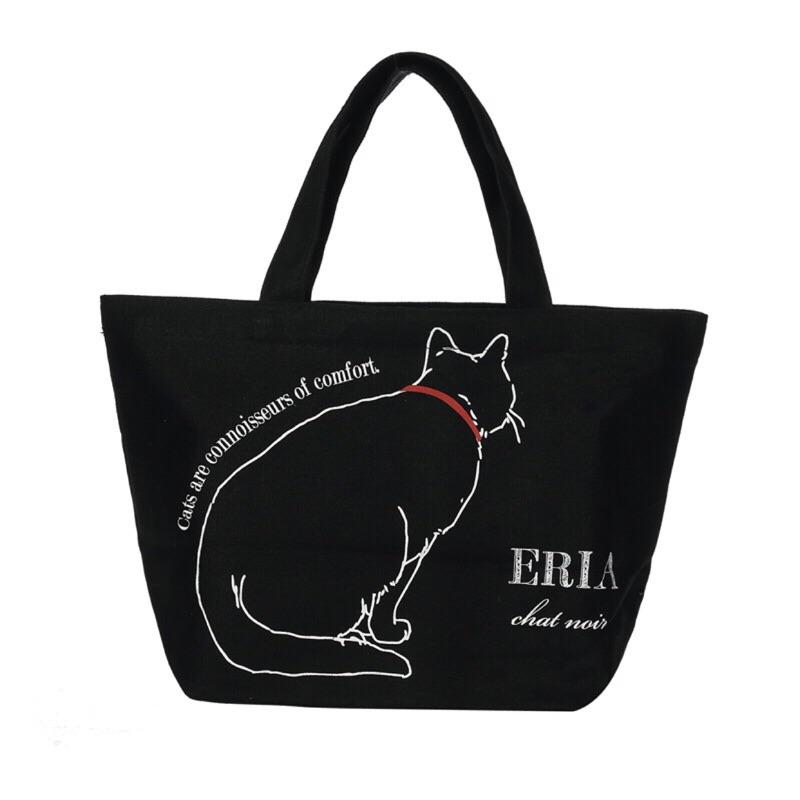 貓尾巴的幸福日單貓咪背影帆布手提袋便當袋環保 袋(黑貓 )