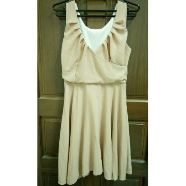 奶茶色雪紡小洋裝喜宴款小禮服
