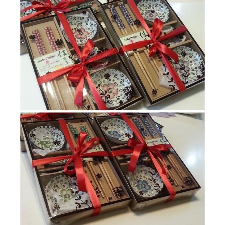小嬿子婚禮小物手繪陶瓷6 件套餐具 組筷子筷架碟子 贈品喝茶禮來店禮