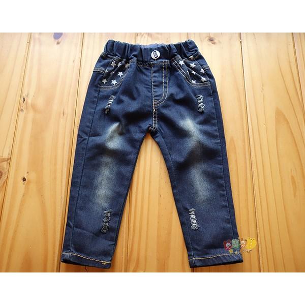 價120 元92899 小熊口袋深藍色刷破超彈性牛仔褲長褲3 13 號中小童