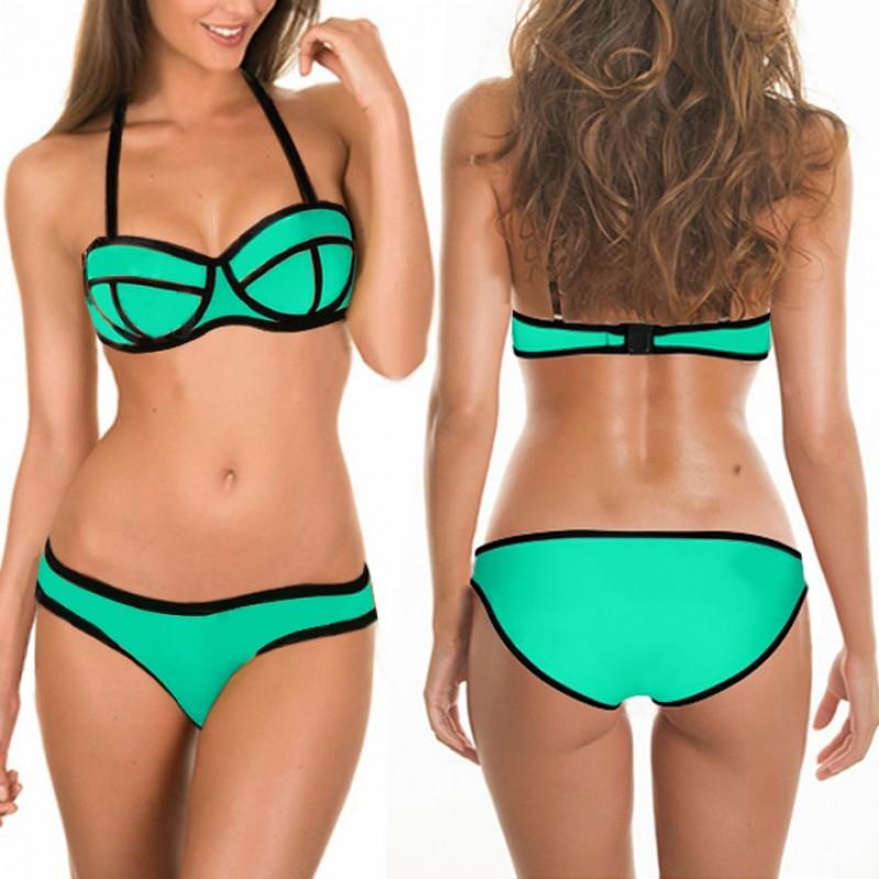 FINEJO 新潮女士綁帶比基尼套裝聚攏襯墊文胸泳裝游泳衣泳裝