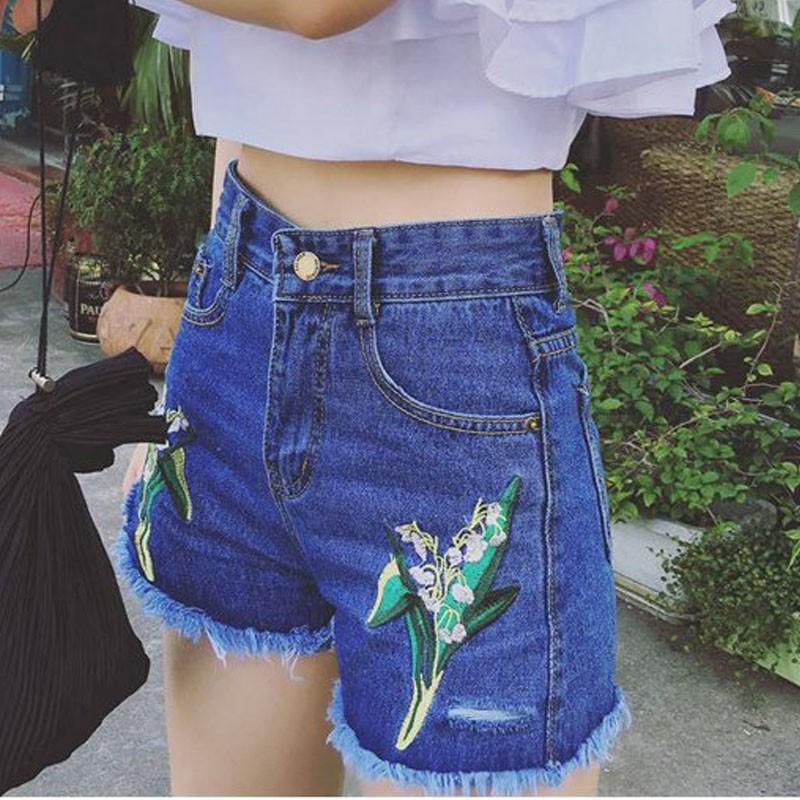 超洋氣花朵植物刺繡高腰毛邊牛仔短褲女熱褲