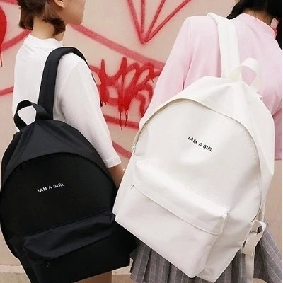 多色系帆布字母情侶後背包休閒包書包旅行包機車包手提袋收納包帆布包學生書包