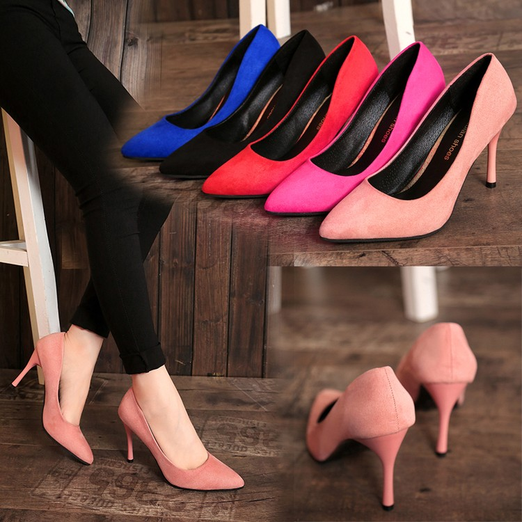 2016 春  粉色淑女鞋細跟性感高跟鞋淺口絨面女鞋尖頭鞋