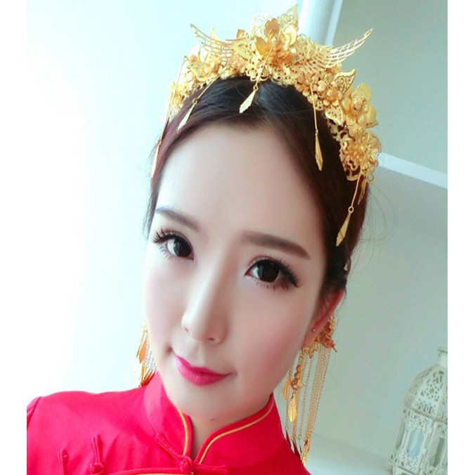 ~名門婚紗~中式新娘古裝頭飾鳳冠秀禾服頭飾民族風發飾套裝結婚禮服配飾