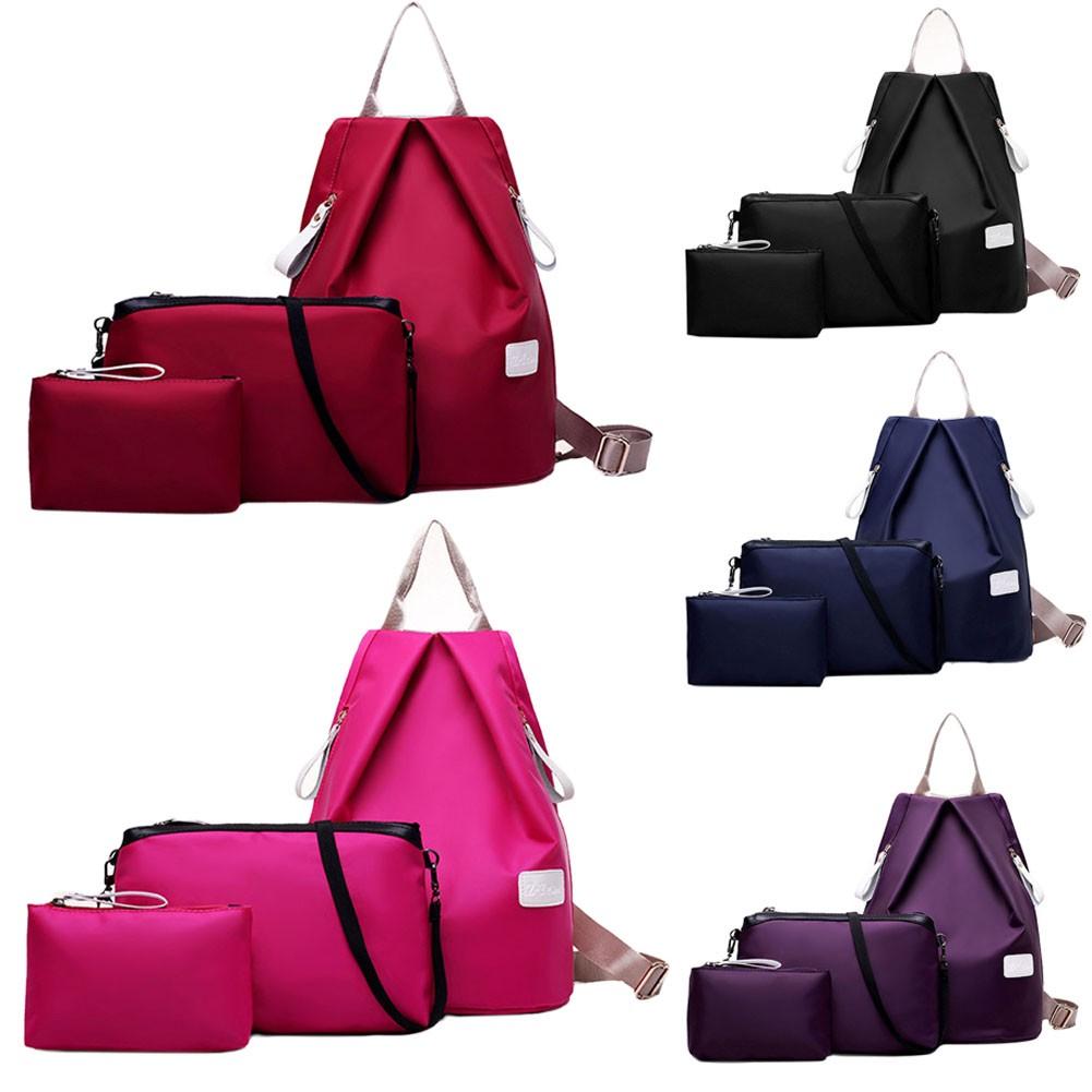 尼龍雙肩包休閒女生背包防水牛津布書包子母包買大包送兩小包買一送二三件套女包五色
