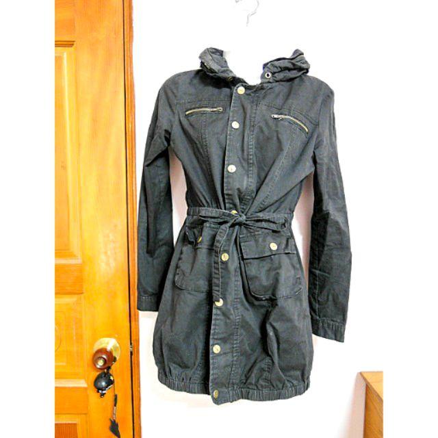 版黑色立領騎士風長版風衣縮腰長袖外套可當防曬防風外套