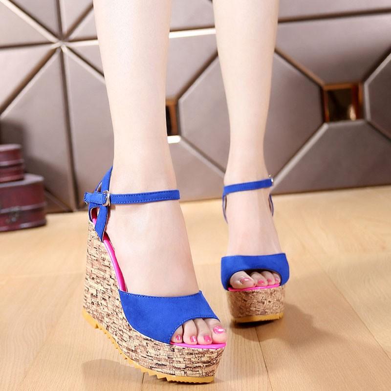 粗跟涼鞋坡跟魚嘴鞋 拼色超高跟羅馬鞋子女 潮