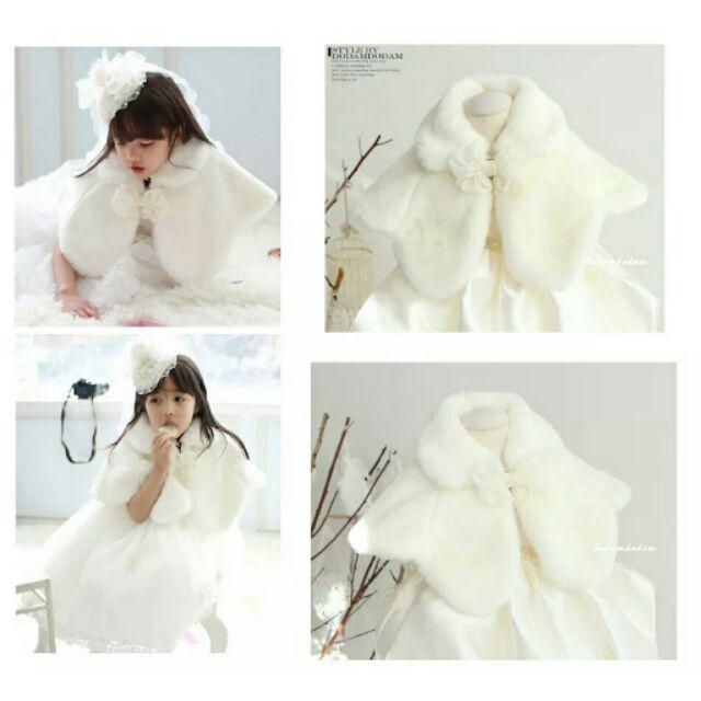 兒童禮服斗篷披風女童公主白色毛絨花童披肩外套
