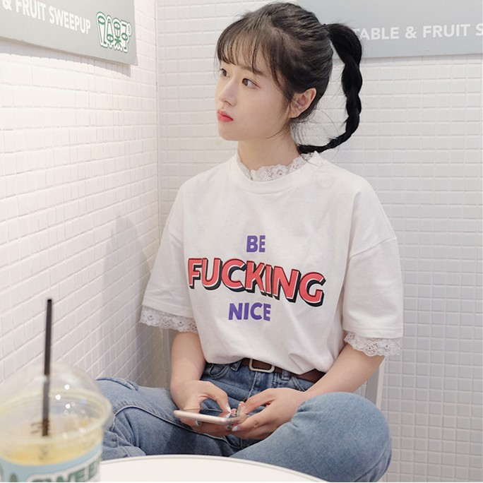 大碼正韓字母印花百搭蕾絲邊短袖寬鬆T 恤