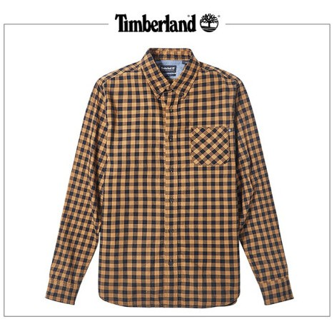 Timberland 男款 紗染 小麥黃色 格子 印花 長袖 襯衫 A29N8P50 撞色 有型 街頭 潮流 穿搭