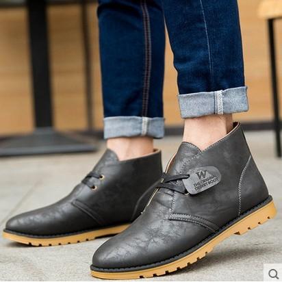 ~潮流前線~馬丁靴男靴pu 皮靴子男士沙漠靴英倫風短靴馬丁工裝鞋男鞋子工裝靴
