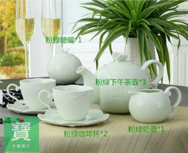~套餐!下午茶粉綠套餐~蝴蝶雕花蕾絲三層盤咖啡壺蛋糕盤水果盤點心杯 婚禮餐具野餐派對陶瓷壺