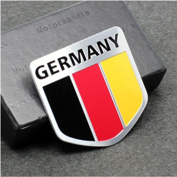 德系車款Germany 國旗鋁合金拉絲金屬貼盾牌 德國銘牌尾門貼