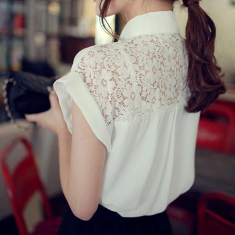2016 夏 短袖雪紡氣質優雅蕾絲拼接百搭女襯衫T 恤襯衫