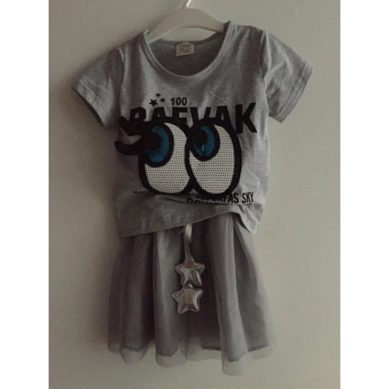 女童眼睛兩件式灰色短袖細肩帶星星紗裙連身洋裝5 號