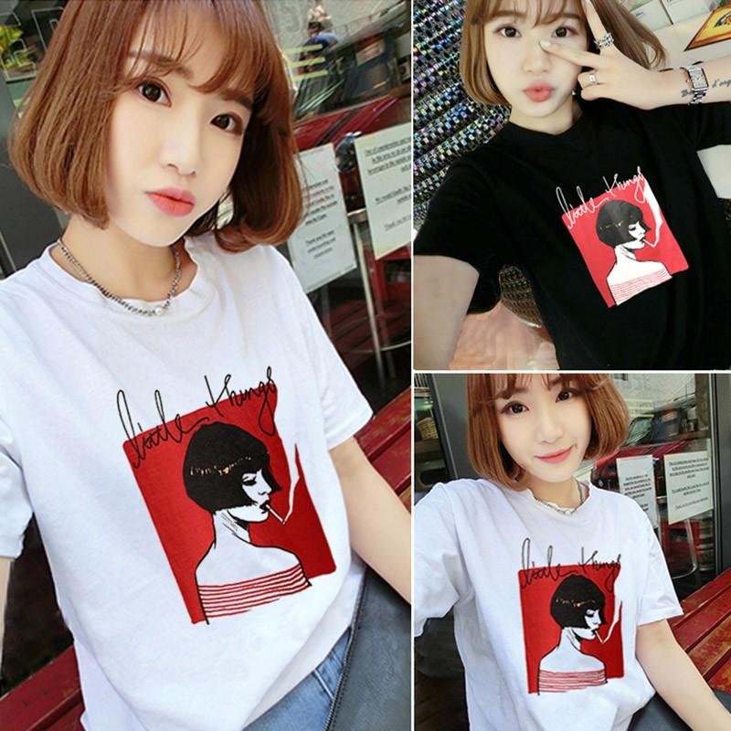 黑(白)色 韓系閨蜜裝甜美小清新圓領t 恤女孩印花短袖T 恤女生寬鬆百搭打底衫上衣大 t