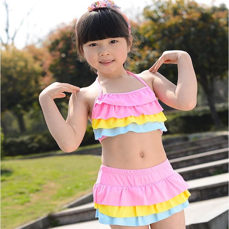 兒童比基尼分體裙式泳裝可愛公主蛋糕裙式中大女童泳衣