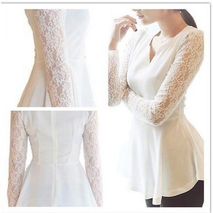 女士擴口式性感雪紡蕾絲袖黑白色罩衫