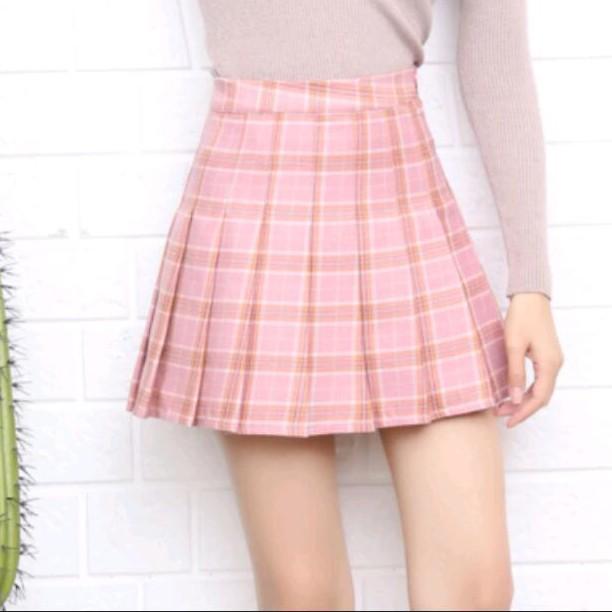 百搭高腰百褶裙短裙半身裙校服裙格子裙褲裙帶安全褲三色