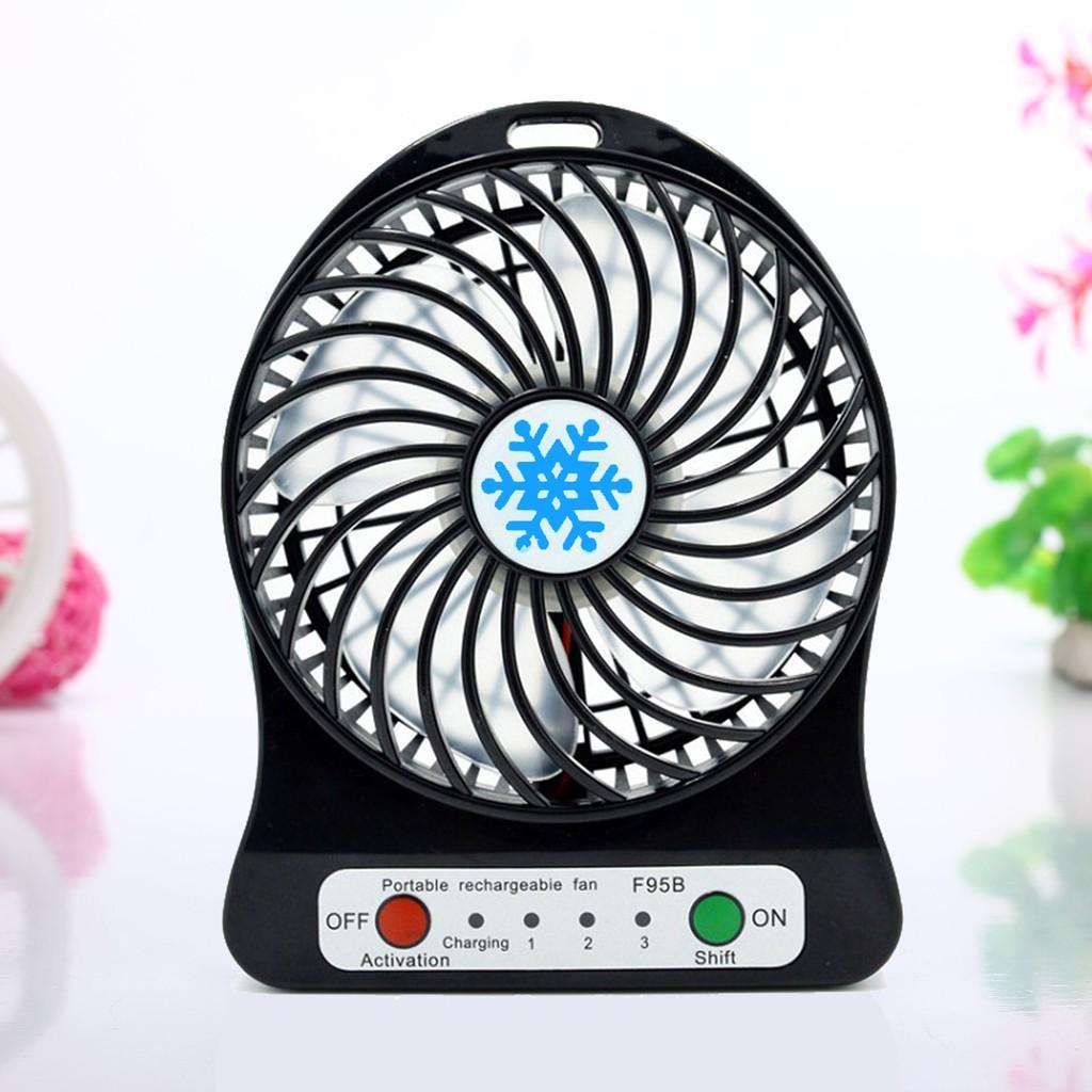 雪花扇F95B USB 迷你充電風扇沉穩黑攜帶型芭蕉扇特別版含充電電池LED 照明靜音消暑