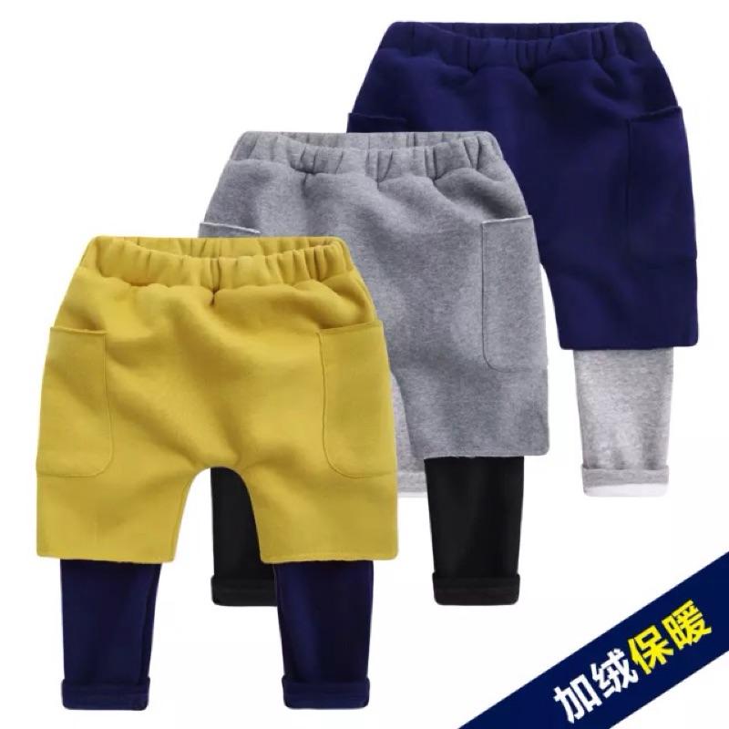[ ]男童冬款加厚假兩件長褲加絨哈倫褲