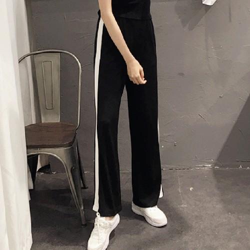2017  側邊白條鬆緊高腰闊腿褲女學生寬鬆休閒 長褲子潮