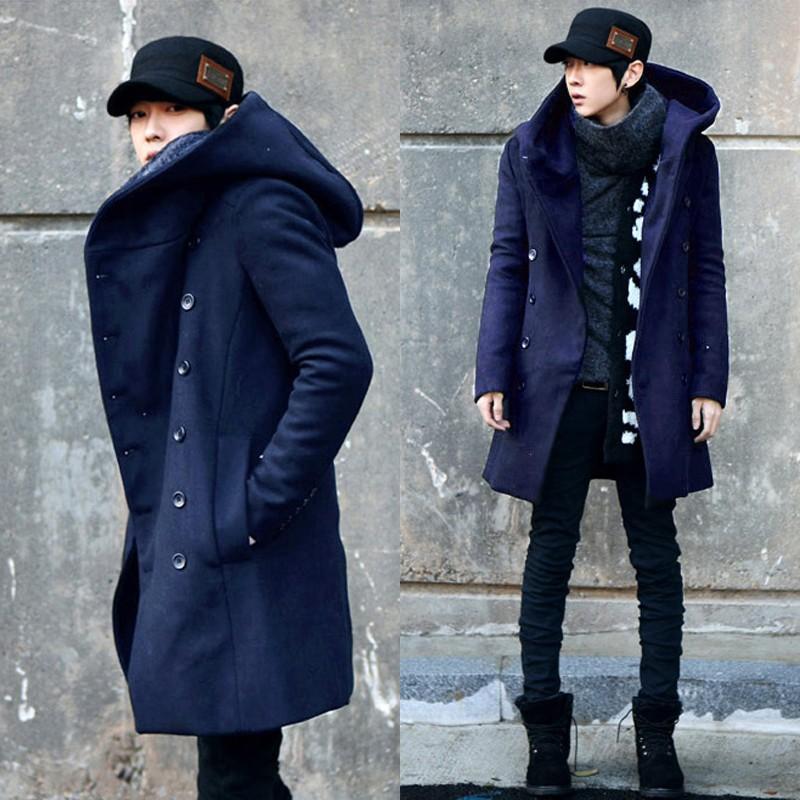 2014 大衣男士風衣連帽青少年外套風衣非主流 修身衣呢子潮