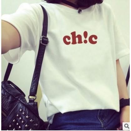K 1286 修身顯瘦系列♡ chic 寬鬆字母印花短袖上衣尺寸