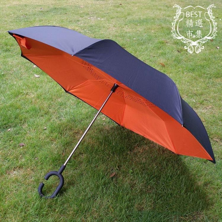 BEST 市集2016 年 款免持C 型握把雙層晴雨反向傘反開傘外翻傘上收傘上開傘可站立反